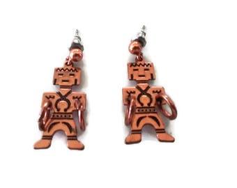 Copper Earrings, Vintage Native American Inspired Design, Figural, Medicine Man, Dancer Pierced Festival Jewelry