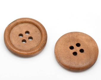 "10 Light Brown Saddle Wooden Buttons - 25mm (1 inch) - 4 Holes -  Round Sewing Wood Buttons 25mm (1"")   (B19497)"