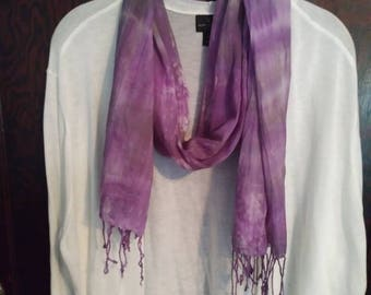 """Hand Tie Dyed Cotton Scarf in Purple Grey and White 70"""""""