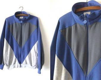 Color Block 80s Adidas Sweatshirt Jacket - Retro Trefoil Logo Sporty Mock Neck Super Soft Track Jacket - Mens Medium