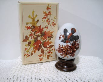 Avon Four Seasons Porcelain Egg Series, Autumn's Magic Changes, Eagg with Stand