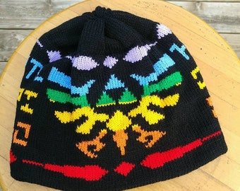 Triforce Pride Beanie Hat: Medium, Black and Rainbow