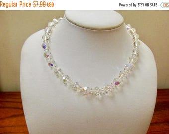ON SALE Vintage Aurora Borealis Crystal Beaded Necklace Item K # 1196