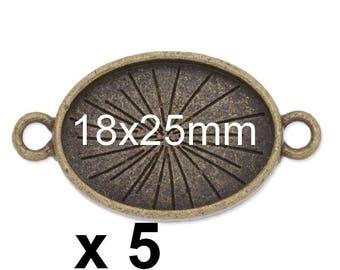 5 connectors 18x25mm bronze ring