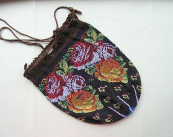 Antique Beaded Bag - Victorian Roses - For reuse - has Damage