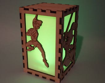 Peter Pan Etched Wood Color Changing Luminary