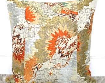 Extra Large Oriental Decorative Pillow Cushion Embroidered Pine Needle leaves in Gold,Silver,Orange & Rust made from rare Japanese Obi Silk