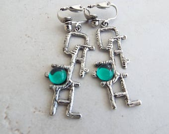 Vintage Clip On Modernist Earrings Silver Tone and Green