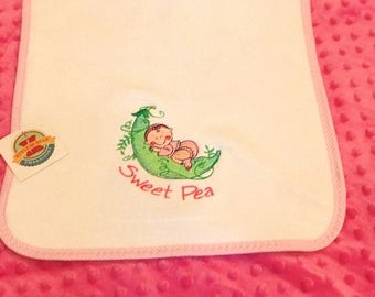 Embroidered Sweet Pea Burp Cloth, New Baby Girl, Embroidered Shower Gift, Gift under 20