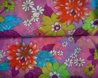 Vintage 1960's, 70's Bright Orange-Red, Violets, Turquoise, Chartreuse Floral Sheer Fabric, 6 yards