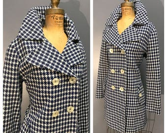 NAVY BLUE & White HOUNDSTOOTH Lucite 1960's Vintage 60s Wool Double Breasted Winter Military Mod Belted Back Pea Coat w Portrait Collar M L