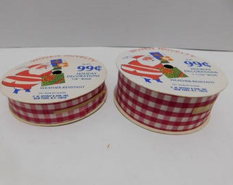 Vintage Pair of Christmas Ribbon Red and White