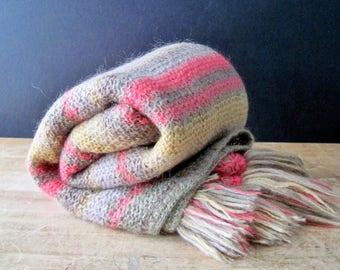 Vintage Knitted Wool Blanket Throw, Striped Wool Throw, Hand Knit Lap Blanket, Handmade Knitted Throw, Wool Mohair Yarn, Vintage Fiber Arts