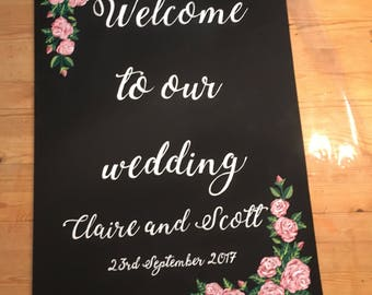 Blackboard, chalkboard wedding sign, welcome to our wedding