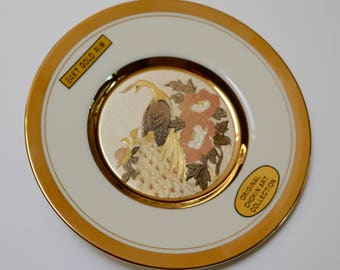 vintage chokin plate, 24K gold china plate with peacock and floral image, chokin art collection