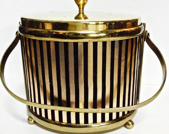 French Chic Gold and Black Ice Bucket, Gold with Embossed Black Velvet Stripes, Mid Century