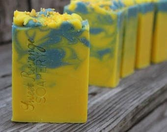 SUNSHINE and BLUE SKIES Soap | Cold Process Soap | Essential Oils | Bath and Body | Artisan Soap | Lemon Soap |Blueberry Soap | Soap Gifts