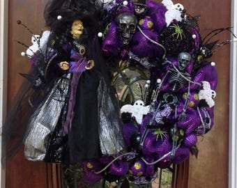 Large Witch Wreath Dressed in Silver and Black