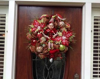 Whimsical Happy Elf Wreath