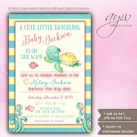 Turtle baby shower invitation girl watercolor baby shower invite il570xn filmwisefo