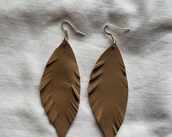 Taupe Leather Feather Earrings