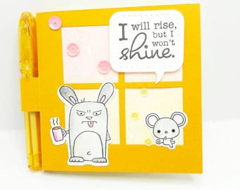 Grumpling, Taylored Expression, Fun post it note holder, Grumpy Bunny, coffee, fun friend gift, co worker gift, grumpy early riser