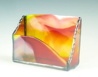 Business Card Holder for Men, Stained Glass, Desktop Organizer, Red and Yellow, Modern Desk Decor, New Jobs Gifts for Him