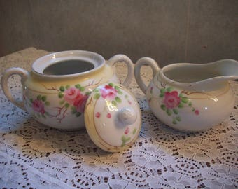 Sugar Bowl and Creamer-  1940's - Made in Japan