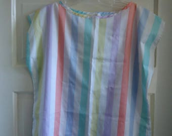 Vintage 70s/80s CANDY COLORED Striped Shell Top sz M/L