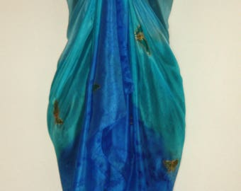 Hand Dyed Blue and Turquoise Silk Sarong with Green Butterfly Design