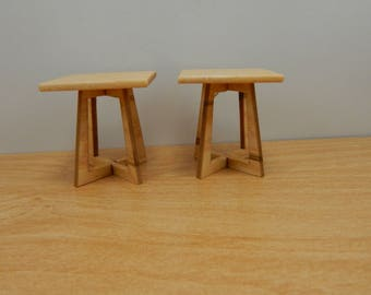 Miniature Birdseye Maple End Tables 1/12 Scale