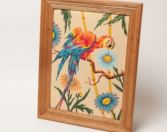 COLORFUL PARROT - Classic Paint By Number Painting in Vintage Oak Frame - Original 1960's Artwork