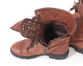 VINTAGE Brown Leather Lace Up Combat Mid Boots sz 9 | Catarina Martins Studded Tan Leather Designer Hiking Shoe Style | 90s Style