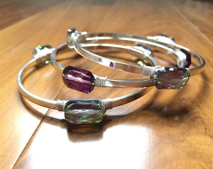 Featured listing image: Sterling Silver Bangle Bracelets with Swarovski Crystal. Boho Jewelry. Chic. Sugarplum Gallery.