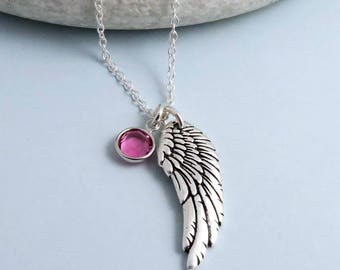 Wing Necklace, crystal birthstone, silver angel wing necklace