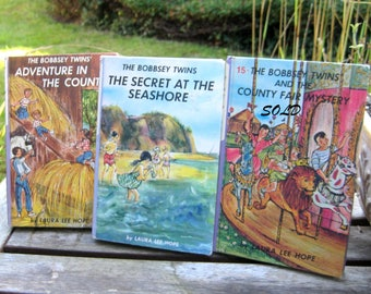 The Bobbsey Twins Vintage children's books by Laura Lee Hope, set of 2 hardcover, color cover books, instant collection, Adventure stories