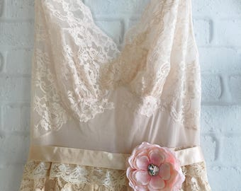 palest pink blush & cream lace and chiffon knife pleat tea length wedding dress by mermaid miss Kristin