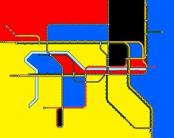 Abstract Neo-Plasticism City Subway Rail Map, Dublin Ireland - 8x10 Inch Print