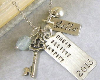 SALE Summer Jewelry Jewelry Inspirational  Dream Believe Inspire Necklace   Hand Stamped Personalized G9
