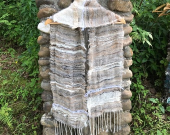 Grey and white scarf with lace /Delicate hand woven scarf made of hand spun yarn / Alpaca mohair scarf / Made in Canada / natural colors