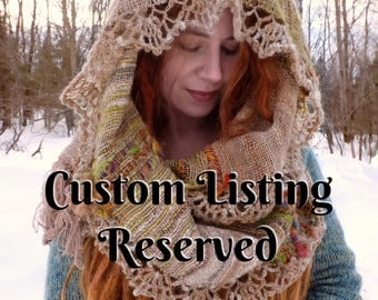 RESERVED/ Hand woven scarf made of hand spun yarn / with crochet edging / Custom woven scarf / Made in Canada
