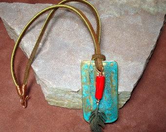 copper pendant. southwest pendant, patina pendant. turquoise color pendant