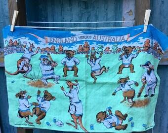 Vintage Moygashel England vs. Australia Cricket Tea Towel, 100% Irish Linen, Mid Century, Vintage, Retro Linen Tea Towel, Cricket Match