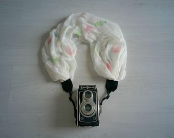 Camera scarf strap Luxury camera strap Moonlight camera strap Scarf camera strap DSRL camera strap White camera strap Camera accessories