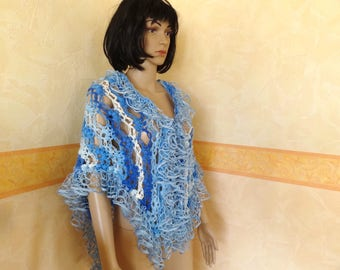 Blue crocheted shawl for women crocheted by hand, fashion accessories.