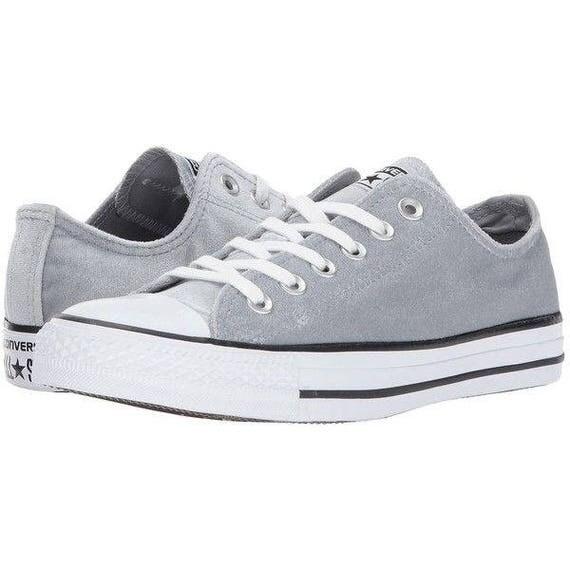 Velvet Gray Converse Chuck Taylor Low Top Custom Crystal Wedding Kick Dolphin Grey Plush w/ Swarovski Rhinestone Bling All Star Sneaker Shoe