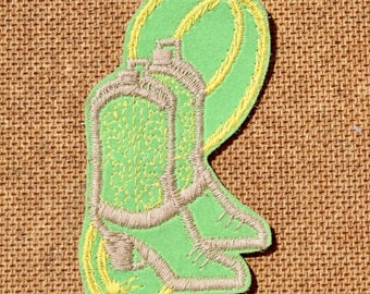 Vintage Cowboy Boot With Rope Patch Applique  Vintage Lime Green Cowboy Boot Patch