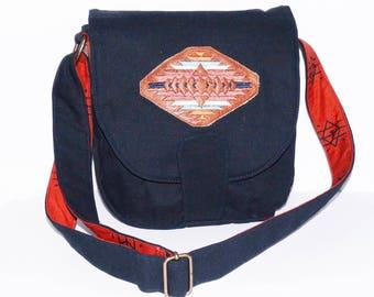 embroidered canvas  messenger / satchel / shoulder bag woman native america southwestern navajo indian art many pockets adjustable strap