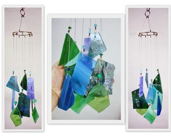 Wind Chime, Stained Glass Chime, Glass Windchime, Multi Color, Blue and Green. Garden Decor, Home Decor