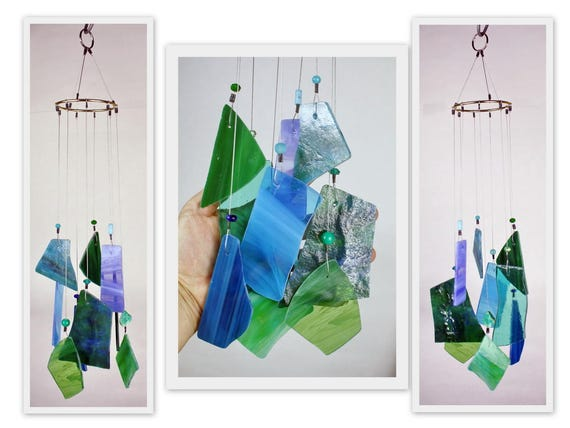 Stained Glass Windchime Multi Color, Blue and Green